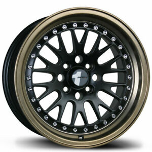 Avid 1 Av12 15x8 4x100 25 Matte Black bronze Lip Wheels set Of 4