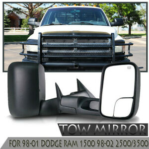 Pair Tow Mirrors For 98 01 Dodge Ram 1500 98 02 2500 3500 Power Heated Black