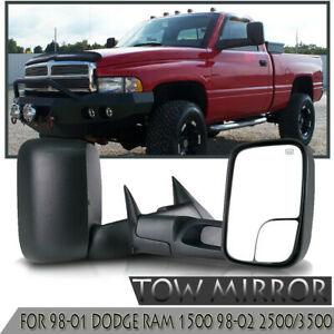 Flip Up Power Heated Pair Tow Mirrors Fit 98 01 Dodge Ram 1500 98 02 2500 3500