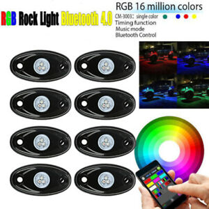 8x Wireless Pods Bluetooth Rgb Led Rock Light For Off Road Vehicle Drl Jeep