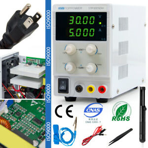 Digital Dc Power Supply Variable Bench 30v 5a With Alligator Leads Power Cable