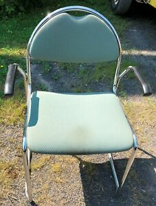 30 Restaurant Chairs Chrome Padded Stacking Light Green