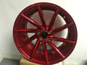 19 Red Staggered Swirl Style Staggered Rims Fits 5x114 Jdm Accord 350z 370z