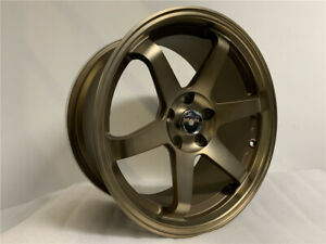 18 Staggered Bronze Grid Style Wheels Fits 5x114 3 Honda Accord Civic