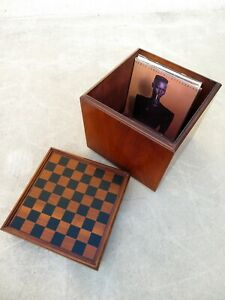 Vtg Lane Mid Century Chess Board Stool Ottoman Record Lp Storage Cube Game Table