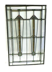 Antique Stained Glass Leaded Art Deco Front Door Window 44 1 2 X 27 3 8