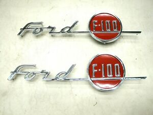 1955 55 Ford Truck Hood Chrome F100 Emblem Pair New