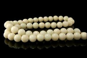 Vintage Chinese White Green Jade Beads Necklace A808pc