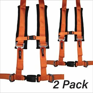 Pair Of Polaris Rzr Orange 4 Point Harness 2 Padding Canam X3 Yxz