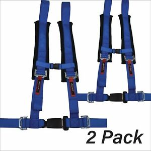Pair Rzr 170 4 Point Harness Auto Style Buckle Great For Kids Blue