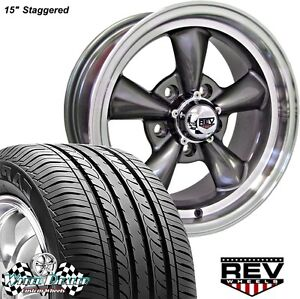 15x7 Gray Rev Classic 100 Wheels Tires For Ford Mustang 1965 1968 Mounted