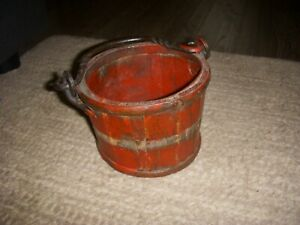 Primitive Antique Style Colonial Wood Berry Bucket Iron Handle Old Red Paint