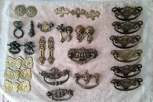 Lot Of 29 Vintage Ornate Brass Handles And Knobs Drawer Hardware