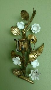 Vintage Italian Gold Florentine Tole Wall Candle Holder Sconce Flowers Leafs