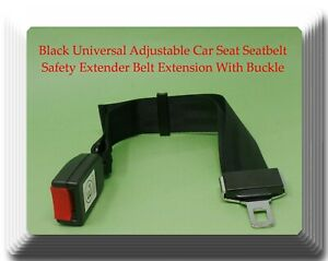 Black Universal Adjustable Car Seat Belt Safety Extender Belt Extension 14 24 In