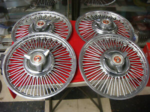 1963 1966 Galaxie Mustang Wire Wheel Spinner Hub Caps Set Of 4 14 Inch Ford