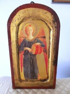 Large Gold Leaf Gilt Tole Wood Italian Angel Playing Drum Icon Picture Plaque