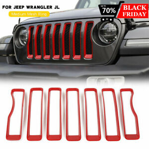 Red Front Grille Grill Insert Cover Trim For Jeep Wrangler Jl Rubicon 7 2018 20
