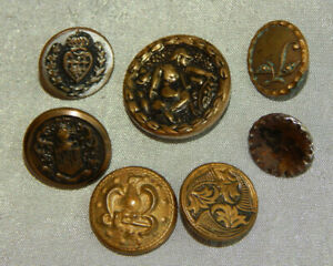 Lot Of Antique Brass Picture Button 216 A