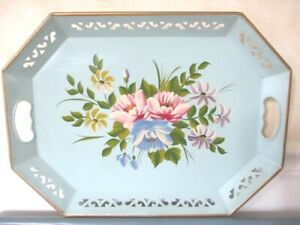 Hand Painted Vintage Powder Blue Tole Tray Pink Yellow Lavender Floral