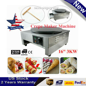 16 Commercial Electric Crepe Maker Pancake Machine Nonstick Single Hotplate 3kw