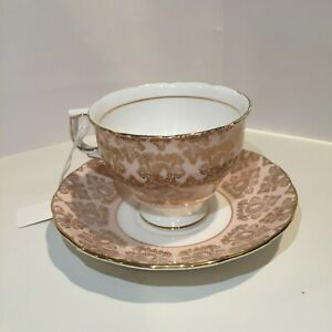Colclough Bone China Tea Cup Saucer England Pink Gold Pattern