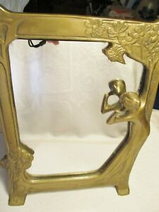 Vintage Art Deco Heavy Brass Easel Stand Woman In Mirror Table Vanity Mirror