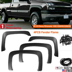 4pcfactory Style Fender Flares Fit For 07 13 Chevy Silverado 1500 2500hd 3500hd