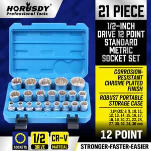 21pcs 1 2 Inch Drive Square 12 Point Edge Nut Deep Impact Socket Set 8mm 36mm