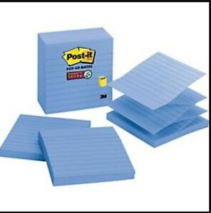 lot Of 5 Post it Pop up Notes Refill Lined 4 X 4 Periwinkle 90 sheet 5 pack