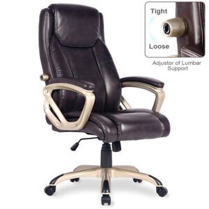 Executive Ergonomic Pu Leather Office Desk Chair High back Computer Chair Brown
