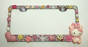 Hello Kitty Stainless License Plate Frame Made With Swarovski Crystals