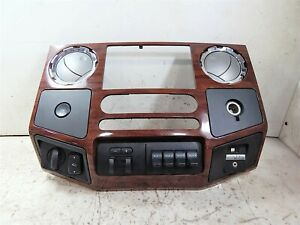 2008 Ford F250 Super Duty Wood Grain Radio Dash Bezel Aux Switches Oem