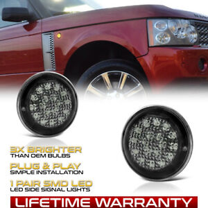 For 03 12 Range Rover L322 Hse Sc Black Led Side Marker Lights Signal Lamps Pair
