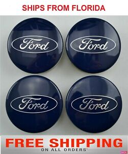 Fits Ford 54mm Alloy Wheel Center Hub Caps Cover For Focus Fiesta Blue 4 Pcs