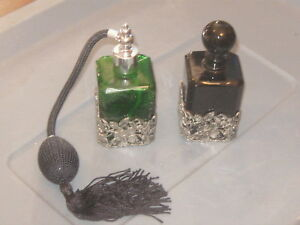 Vintage Lot Of 2 1980 S Glass Irice Perfume Bottle Atomizer With The Boxes