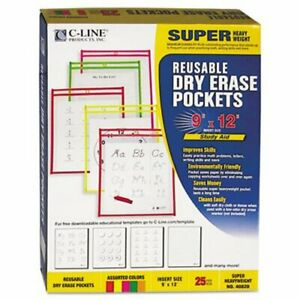 C line Reusable Dry Erase Pockets 9 X 12 Assorted Neon 25 Per Box cli40820