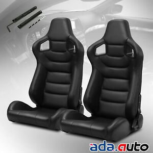 Jdm Reclinable Pvc Main Black Carbon Fiber Style Leather Racing Seats W slider