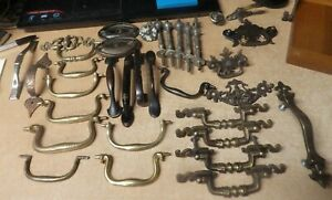 Large Vintage Antique Brass Copper Door Drawer Pull Lot Assorted Pics
