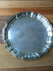 Vintage Silver Platter Tray Round