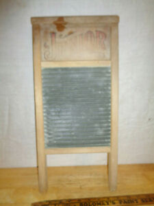 Vintage Washboard Junior 795 National Washboard Co Wood Galvanized Tin Usa