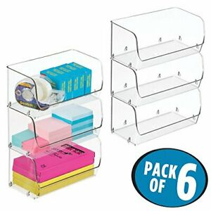 Mdesign Plastic Stackable Bin With Open Front For Organizing Home Office
