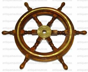 Wooden Ship Wheel 18 Inch Brass Nautical Collectible Wall Decor Vintage Brown