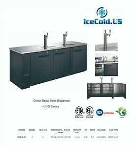 Commercial Kegerator 2 Towers Stainless Steel Beer Cooler 3 Doors