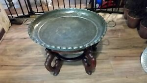 Vintage 5 Leg Carved Wood And Heavy Scalloped Edge Brass 2 Handled Tray Top