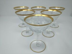 Early 1900 S Antique Crystal Glasses With Gold Trim Set Of 6 Wine Sherry Vintage