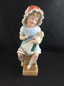 Antique Piano Baby German Heubach Bisque Girl On Chair W Doll 14 Figurine