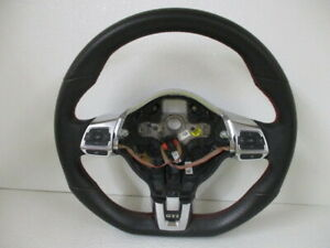 11 Vw Golt Gti Black Flat Bottom Steering Wheel W Media Cruise Controls Oem Lkq