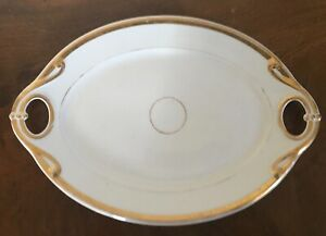 Antique 19th Century Old Porcelain Platter Oval Tray White Gold Wedding Band