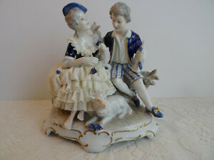 Dresden Figurine Porcelain Lace Figure Young Lady And Man Germany Mint